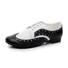 Unisex Real Leather Heels Modern Ballroom With Lace-up Dance Shoes