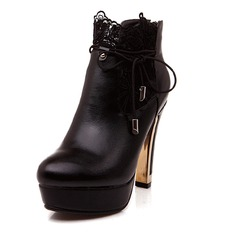 Women's Leatherette Chunky Heel Pumps Closed Toe Wedges Boots Ankle Boots With Lace-up shoes