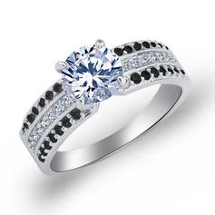 Unique Copper/Zircon/Platinum Plated Ladies' Rings