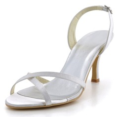 Women's Satin Stiletto Heel Sandals With Buckle