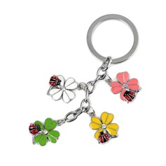 Colorful Flowers Design Chrome Keychains