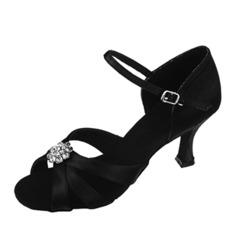 Women's Satin Heels Sandals Latin With Rhinestone Dance Shoes