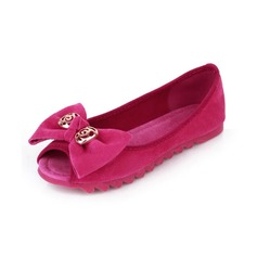 Leatherette Flat Heel Closed Toe Flats With Bowknot (086026218)