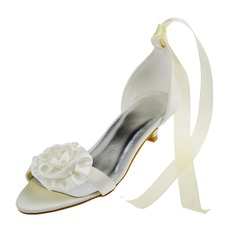 Women's Satin Low Heel Peep Toe Sandals With Flower