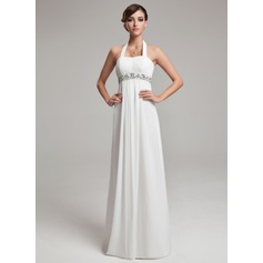 Empire Halter Floor-Length Chiffon Wedding Dress With Ruffle Beadwork Sequins