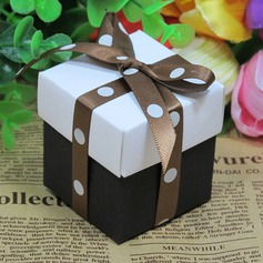 White And Black Favor Box With Brown Ribbon (Set of 12) (050026288)
