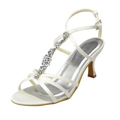 Women's Satin Spool Heel Peep Toe Sandals With Buckle Rhinestone