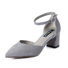 Women's Suede Chunky Heel Pumps Closed Toe shoes
