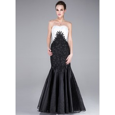 Trumpet/Mermaid Sweetheart Floor-Length Taffeta Organza Evening Dress With Lace