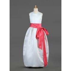 A-Line/Princess Scoop Neck Floor-Length Satin Flower Girl Dress With Sash Bow(s) (010002144)