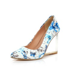 Patent Leather Wedge Heel Pumps Closed Toe shoes