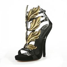 Velvet Stiletto Heel Peep Toe Platform Sandals