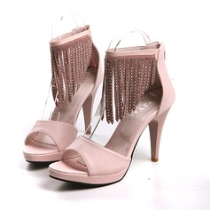 Leatherette Cone Heel Platform Sandals With Rivet Tassel (087023823)