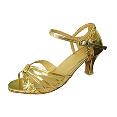 Women's Leatherette Sparkling Glitter Heels Sandals Latin With Buckle Dance Shoes