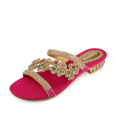 Suede Low Heel Sandals Flats Slippers With Rhinestone shoes