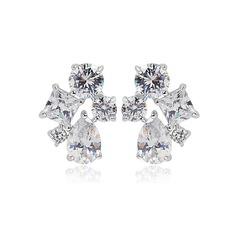 Shining Copper/Zircon/Platinum Plated Ladies' Earrings