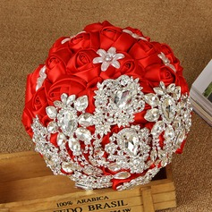 Charming Round Satin/Ribbon/Rhinestone Bridal Bouquets/Bridesmaid Bouquets -