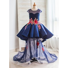 Ball Gown Court Train Flower Girl Dress - Satin/Tulle Short Sleeves Scoop Neck With Appliques