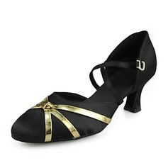 Women's Satin Heels Pumps Modern Ballroom Dance Shoes