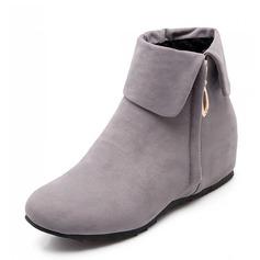 Frauen Wildleder Keil Absatz Absatzschuhe Geschlossene Zehe Stiefel Stiefelette Schuhe