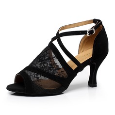 Women's Leatherette Lace Heels Sandals Pumps Latin With Lace-up Dance Shoes