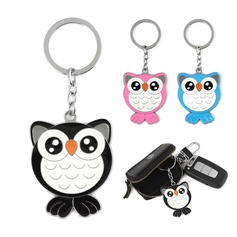Lovely Owl Shaped Chrome Keychains