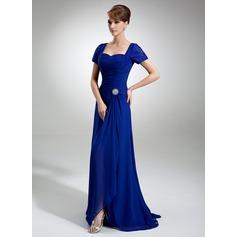 A-Linie/Princess-Linie Herzausschnitt Sweep/Pinsel zug Chiffon Spitze Kleid für die Brautmutter mit Kristalle Blumen Brosche Schlitz Vorn Gestufte Rüschen