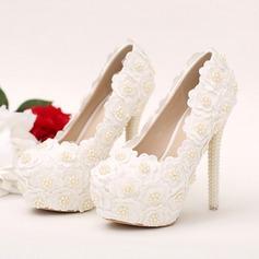 Women's Leatherette Stiletto Heel Closed Toe Platform Pumps With Imitation Pearl Flower Jewelry Heel