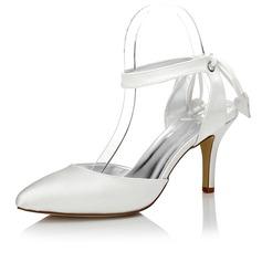 Women's Satin Stiletto Heel Closed Toe Slingbacks Dyeable Shoes