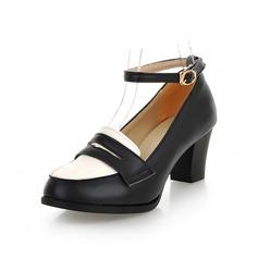 Imitação de couro Salto baixo Bombas Fechados com Fivela sapatos