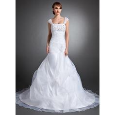 Trumpet/Mermaid Sweetheart Chapel Train Satin Organza Wedding Dress With Ruffle Lace Beading Sequins