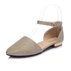 Leatherette Low Heel Flats Closed Toe With Sequin shoes