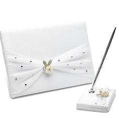Elegant Satin Faux Pearl/Rhinestones Guestbook/Pen Set