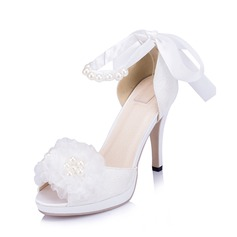 Women's Lace Stiletto Heel Pumps Sandals With Imitation Pearl Flower