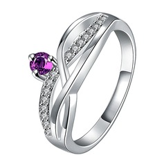 Gorgeous Silver Plated Zircon Copper Unisex Fashion Rings