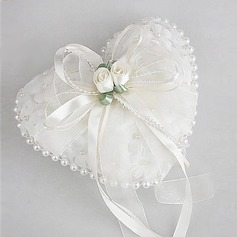 Wedding Ring Pillow in Smooth Satin With Lovely Flowers and Pearls(103018228)
