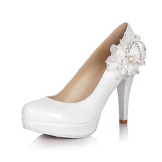 Leatherette Stiletto Heel Pumps Closed Toe With Flower shoes
