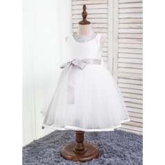 Ball Gown Knee-length Flower Girl Dress - Cotton/Chinlon Sleeveless Scoop Neck With Sash/Beading/Bow(s)