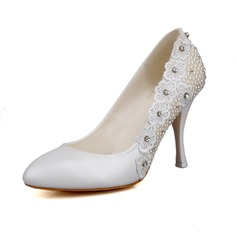 Women's Real Leather Satin Stiletto Heel Closed Toe Pumps With Imitation Pearl Flower