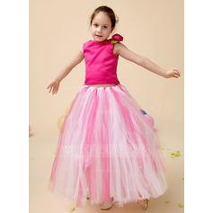 A-Line/Princess Floor-length Flower Girl Dress - Tulle/Charmeuse Sleeveless Scoop Neck With Flower(s)/Bow(s)