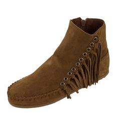 Women's Suede Flat Heel Boots Ankle Boots With Tassel shoes