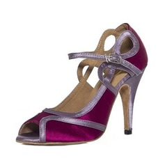 Women's Satin Sandals Latin With Buckle Dance Shoes