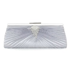 Silver Satin Shell With Rhinestone Evening Handbags (012008673)