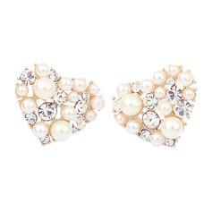 Sweet Heart Alloy/Pearl/Rhinestones Ladies' Earrings