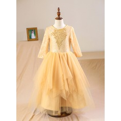 A-Line/Princess Tea-length Flower Girl Dress - Tulle/Lace Long Sleeves Scoop Neck With Beading/Appliques/Back Hole
