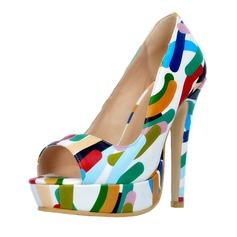 Women's Leatherette Stiletto Heel Pumps Platform Peep Toe shoes