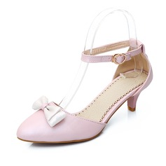 Leatherette Kitten Heel Pumps Closed Toe With Bowknot shoes