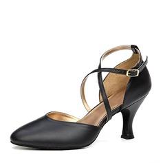 المرأة جلدية حقيقية كعوب قاعة رقص أحذية رقص