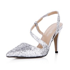 Kvinnor Glittrande Glitter Stilettklack Stängt Toe Pumps Slingbacks