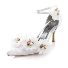 Women's Satin Stiletto Heel Closed Toe Pumps With Buckle Flower